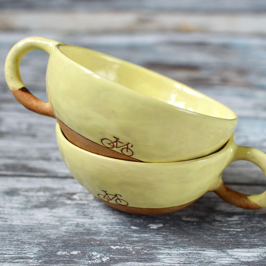 """картинка Керамическая чашка ручной работы """"Велосипед"""" - DishWishes.Ru"""