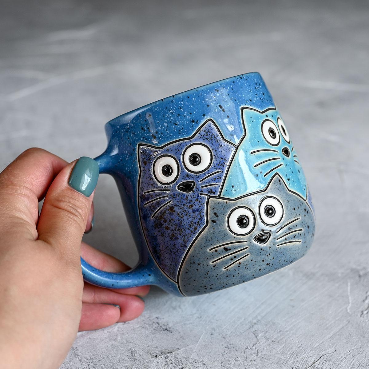 "картинка Кружка ""Котики"" большая синяя 370 мл - DishWishes.Ru"