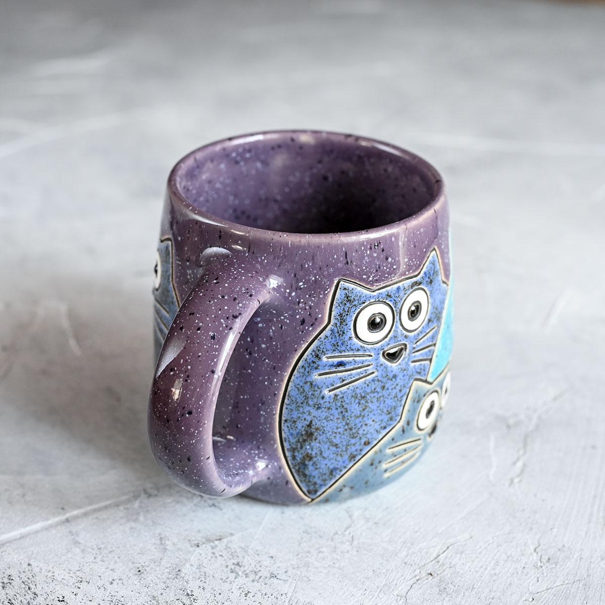 """картинка Кружка """"Котики"""" большая фиолетовая 450 мл - DishWishes.Ru"""