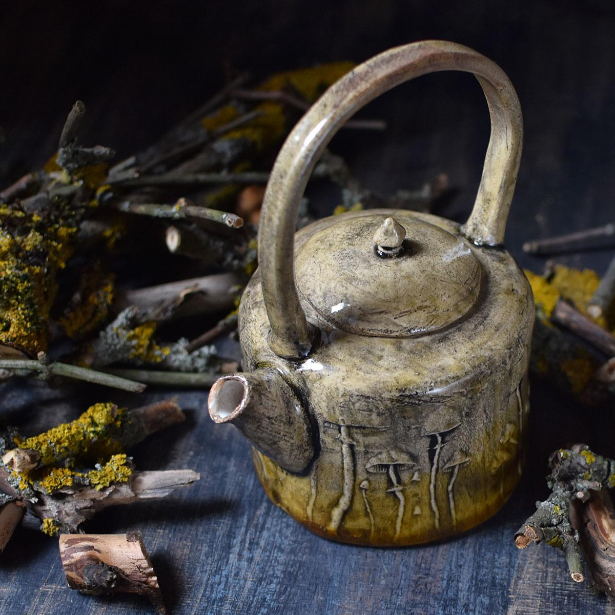 """картинка Керамический чайник """"Лесные грибы"""" - DishWishes.Ru"""