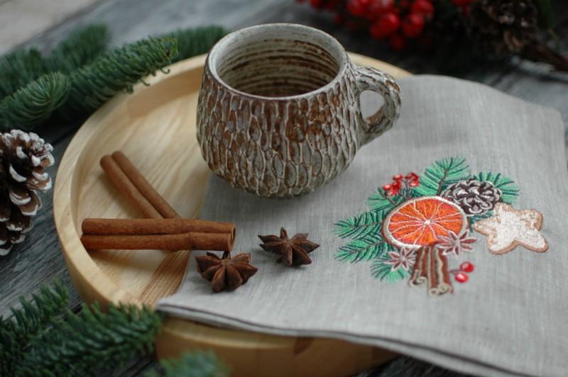 "картинка Салфетка с вышивкой ""Апельсин&Корица"" - DishWishes.Ru"