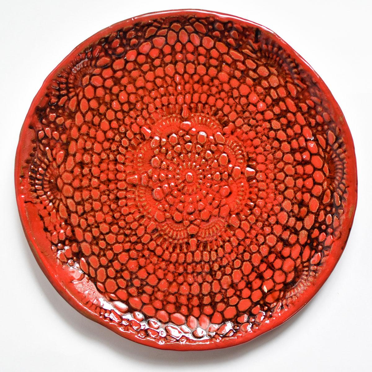 """картинка Керамическая тарелка с кружевом """"Огонь"""" 2 - DishWishes.Ru"""