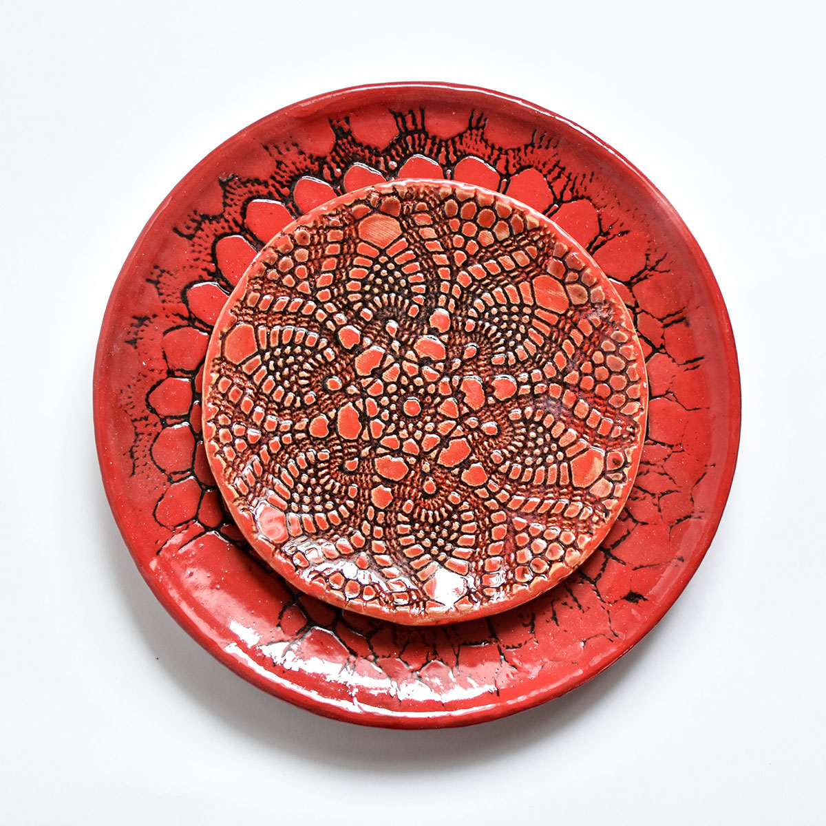 """картинка Кружевное блюдце ручной работы """"Огонь"""" 2 - DishWishes.Ru"""