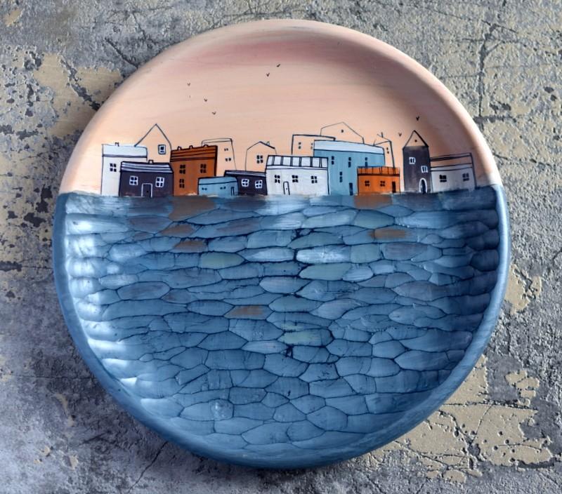 "картинка Деревянная тарелка ""Вечер"" - DishWishes.Ru"