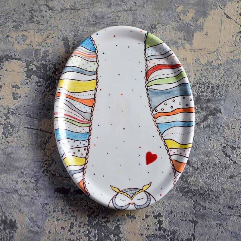 "картинка Овальная тарелка ""Совушка"" - DishWishes.Ru"