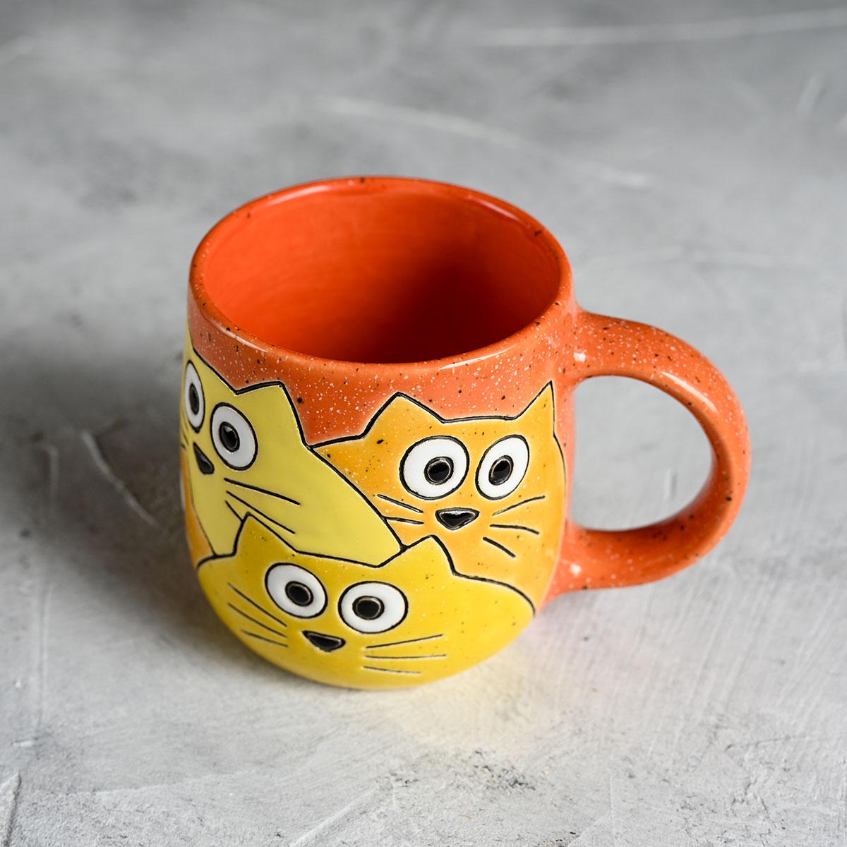 "картинка Кружка ""Котики"" малая оранжевая 220 мл - DishWishes.Ru"