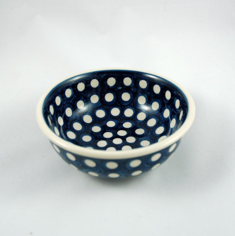 картинка Синяя миска в белый горох - DishWishes.Ru