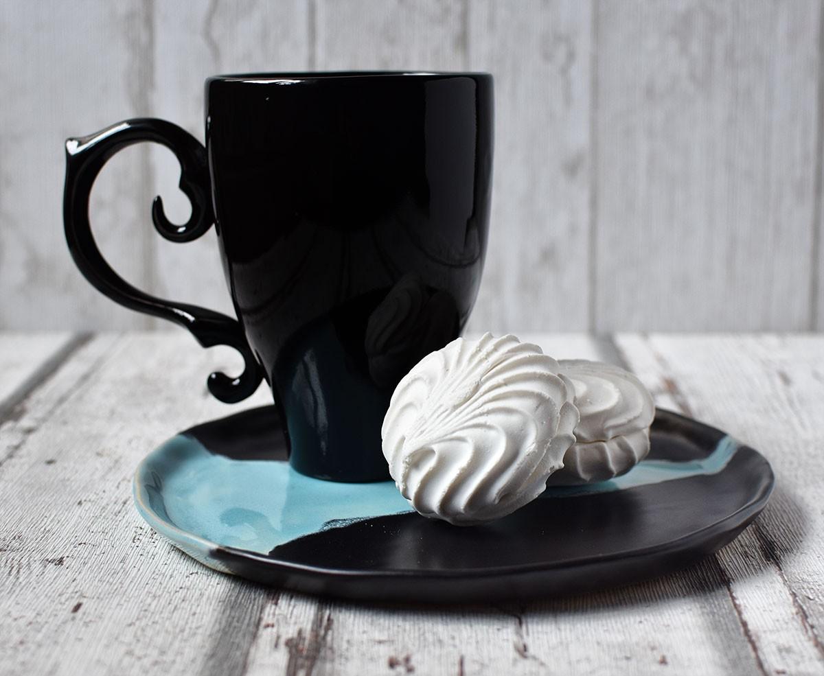 """картинка Керамическая тарелка ручной работы """"Водопад"""" - DishWishes.Ru"""