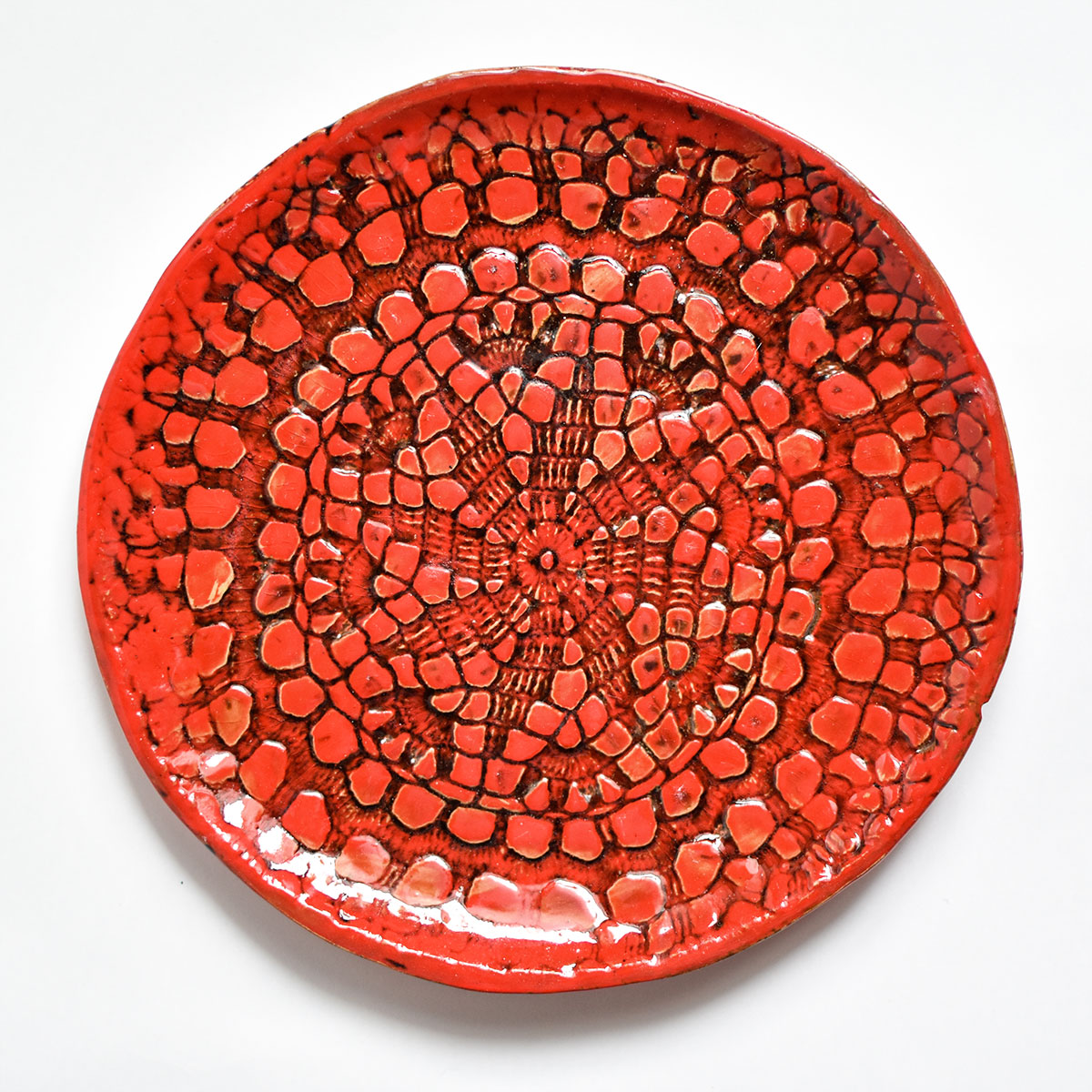 """картинка Керамическая тарелка с кружевом """"Огонь"""" 3 - DishWishes.Ru"""