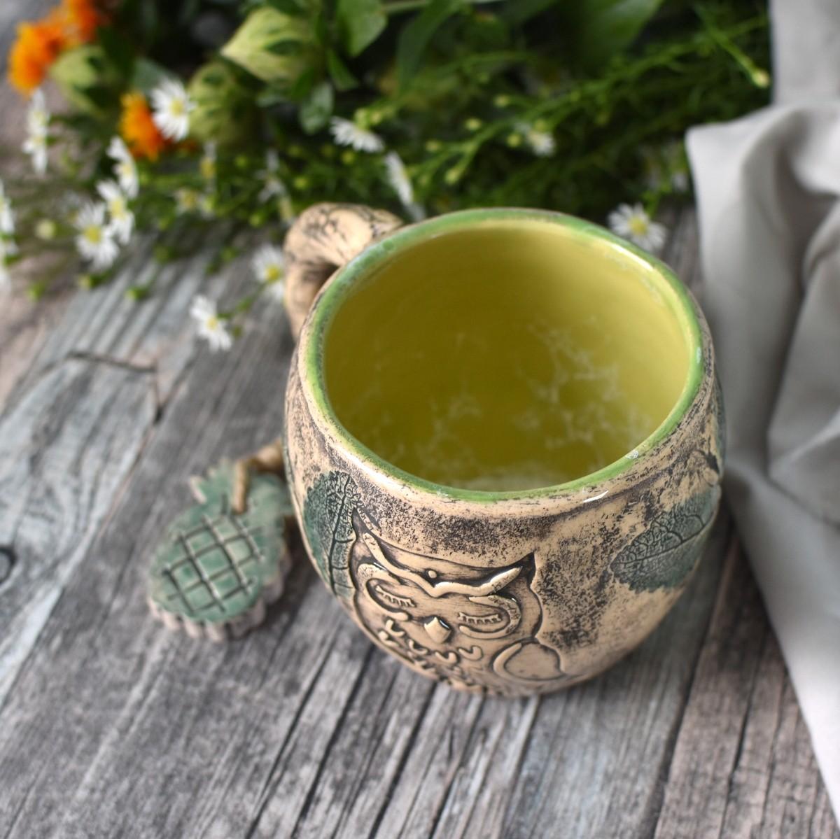картинка Керамическая чашка-пухлыш с совой - DishWishes.Ru
