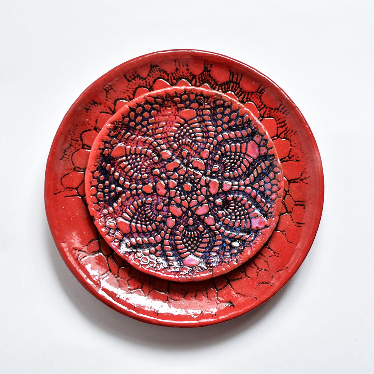 """картинка Кружевное блюдце ручной работы """"Огонь"""" 3 - DishWishes.Ru"""