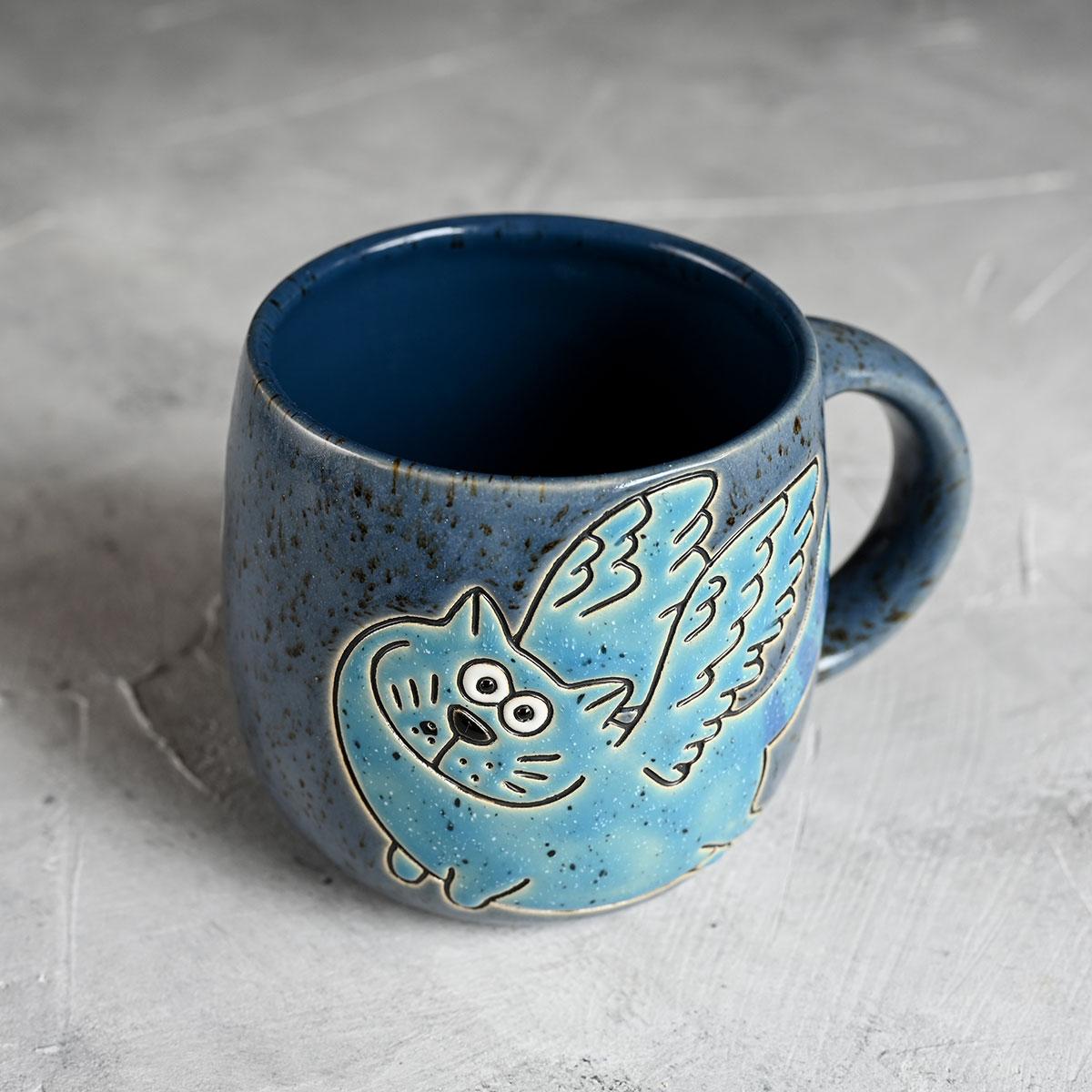 """картинка Кружка """"Синий кот с крыльями""""  - DishWishes.Ru"""
