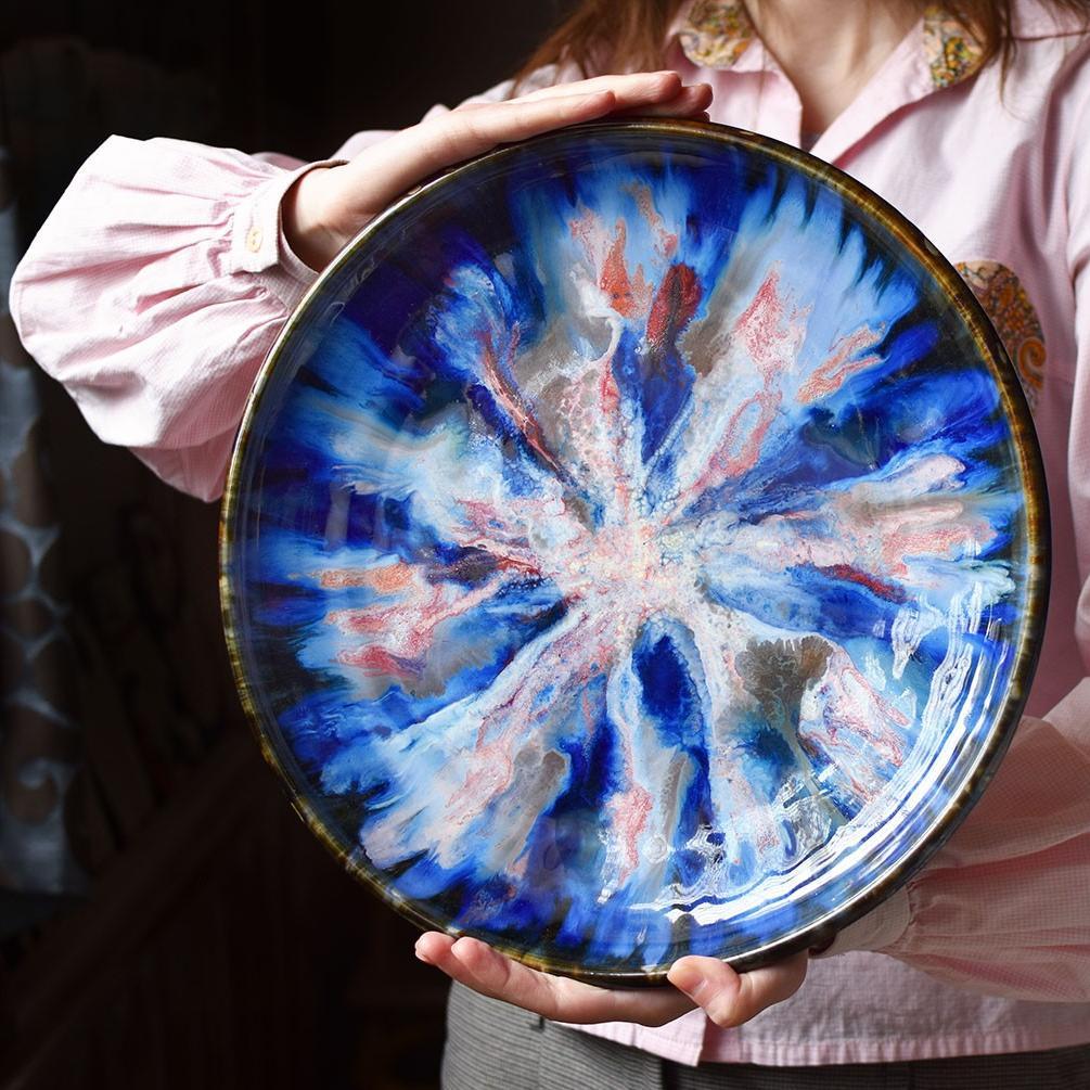 "картинка Большое керамическое блюдо ""Синий океан"" - DishWishes.Ru"