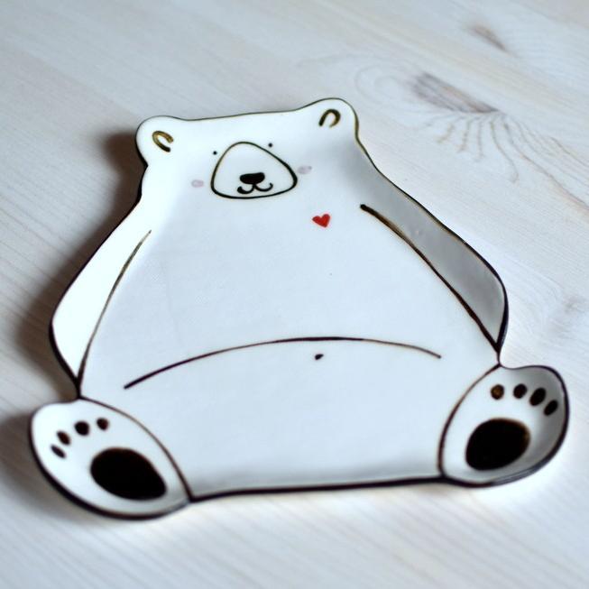 "картинка Керамическая тарелка ""Белый мишка"" - DishWishes.Ru"