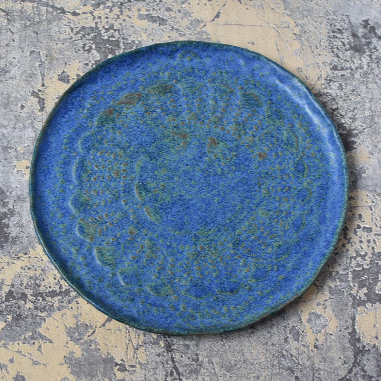 "картинка Тарелка ручной работы ""Синий туман"" - DishWishes.Ru"