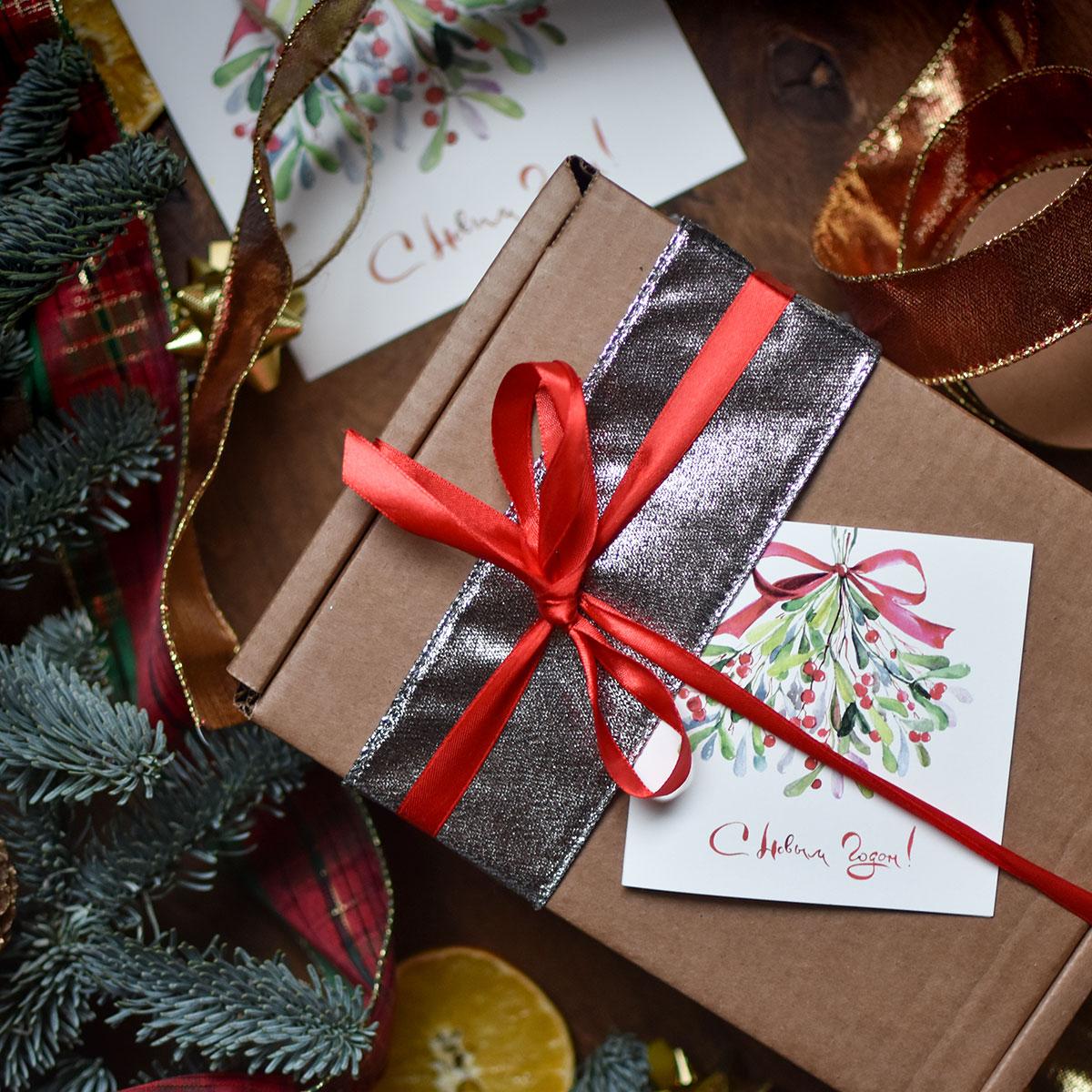 картинка Подарочный набор Новогодний светло-зеленый - DishWishes.Ru