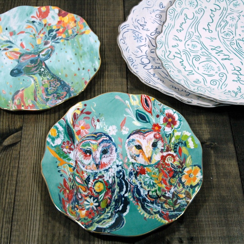 картинка Тарелка десертная с совами - DishWishes.Ru