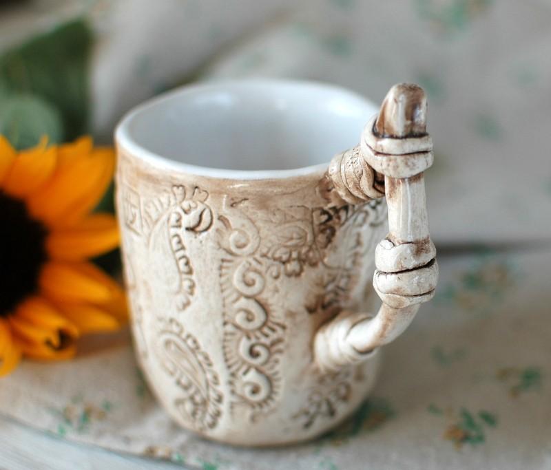 """картинка Чашка ручной работы """"Рельефные узоры"""" - DishWishes.Ru"""