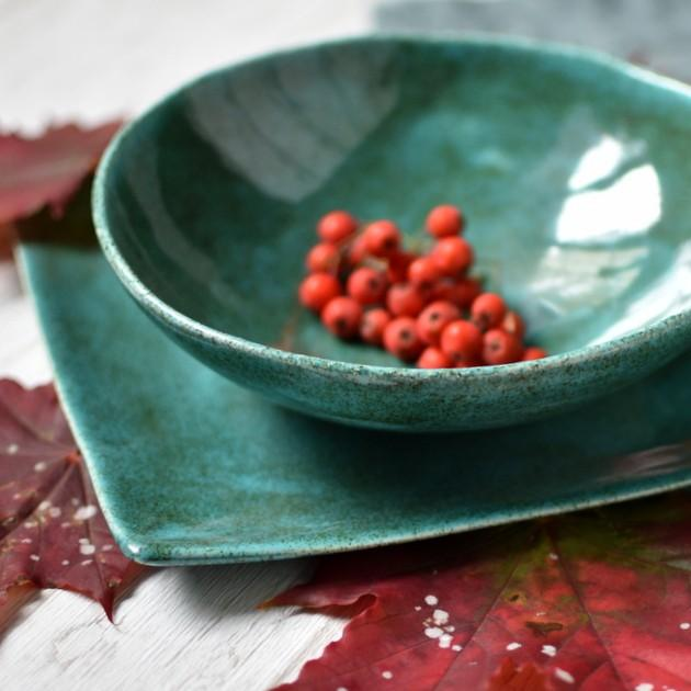 """картинка Керамический салатник ручной работы """"Малахит"""" - DishWishes.Ru"""