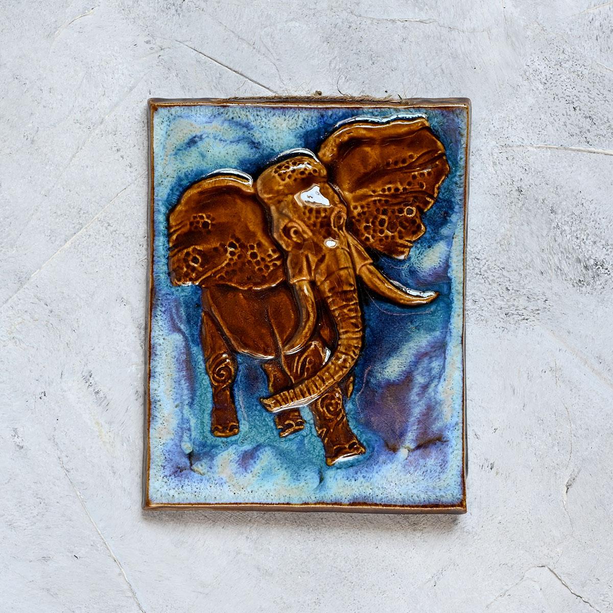"""картинка Изразец ручной работы """"Слон"""" малый - DishWishes.Ru"""