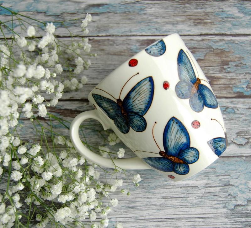 "картинка Кружка ""Голубые мотыльки"" - DishWishes.Ru"