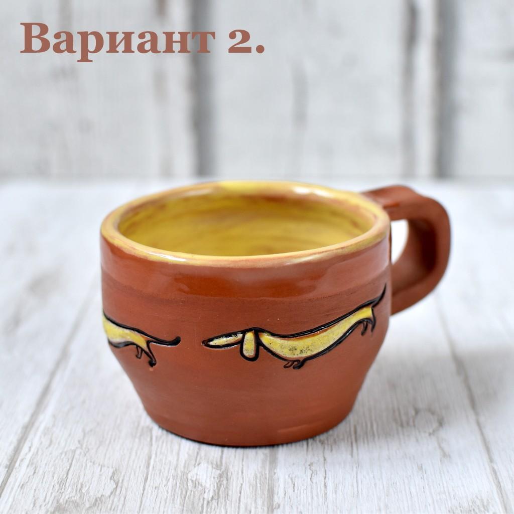 """картинка Вощеная чашка ручной работы """"Такса"""" - DishWishes.Ru"""