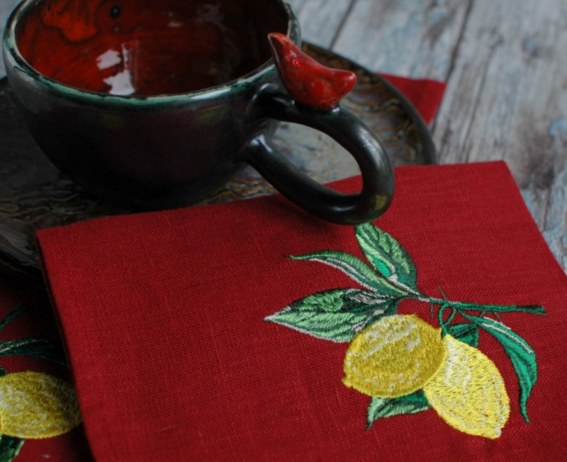 "картинка Салфетка с вышивкой ""Лимоны"" - DishWishes.Ru"