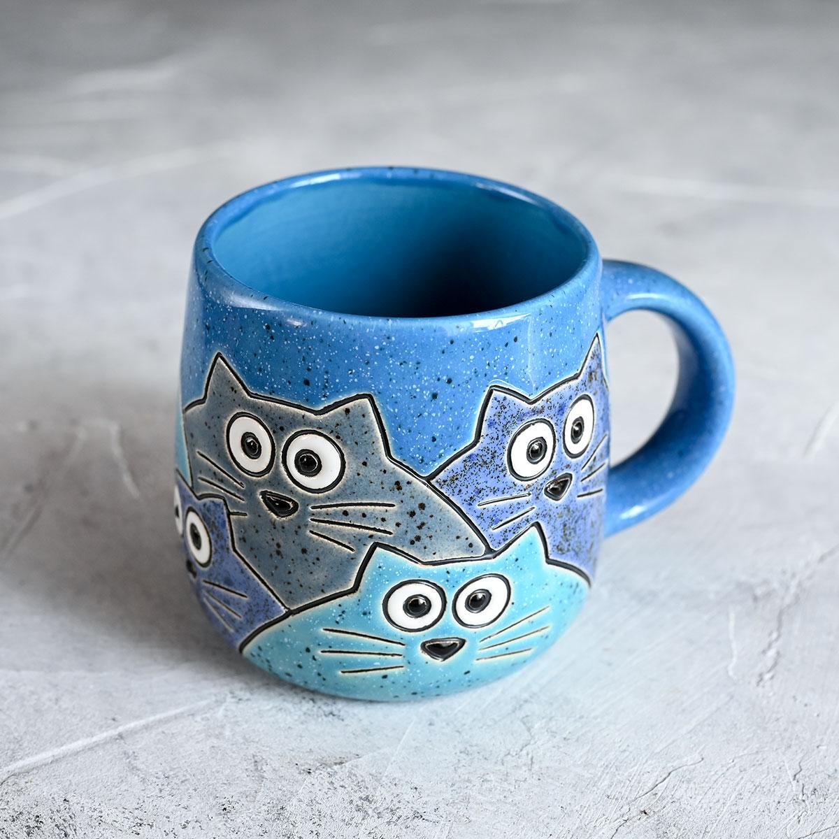 "картинка Кружка ""Котики"" большая синяя 450 мл - DishWishes.Ru"