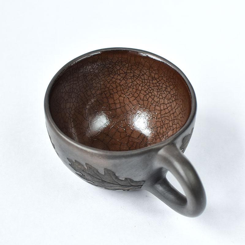 картинка Чернолощеная кофейная чашка с глазурью - DishWishes.Ru