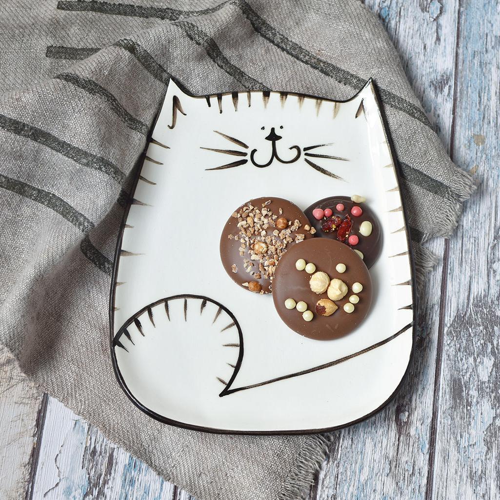 """картинка Керамическая тарелка """"Довольный кот"""" - DishWishes.Ru"""