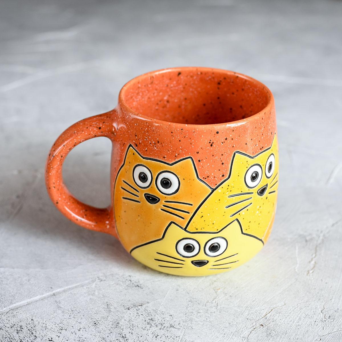 """картинка Кружка """"Котики"""" большая оранжевая - DishWishes.Ru"""
