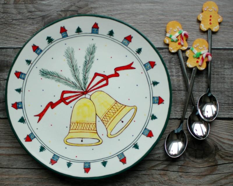 """картинка Керамическая тарелка с росписью """"Новый год"""" - DishWishes.Ru"""