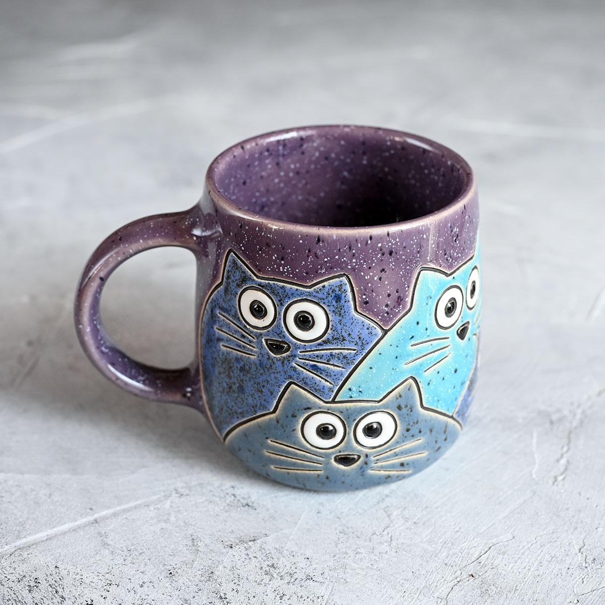 """картинка Кружка """"Котики"""" большая фиолетовая 400 мл - DishWishes.Ru"""