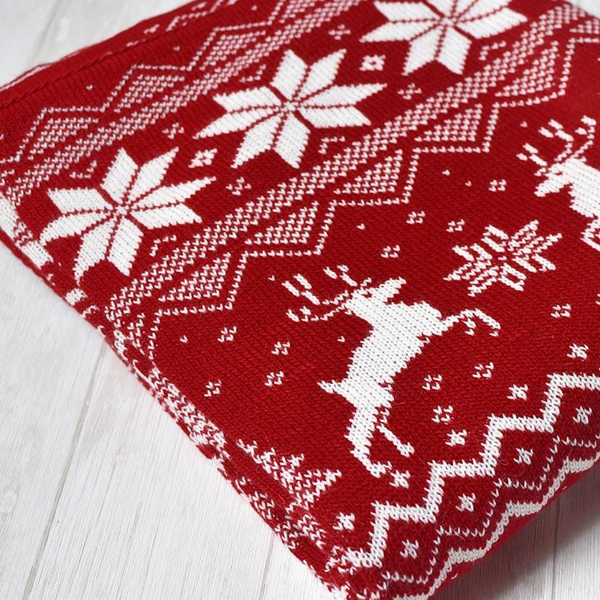 "картинка Вязаный плед ""Новогодний красный"" - DishWishes.Ru"