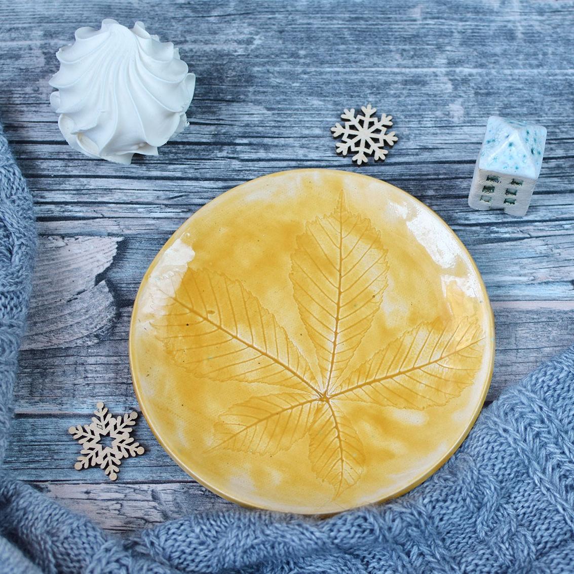 "картинка Желтая тарелка ""Каштан"" - DishWishes.Ru"