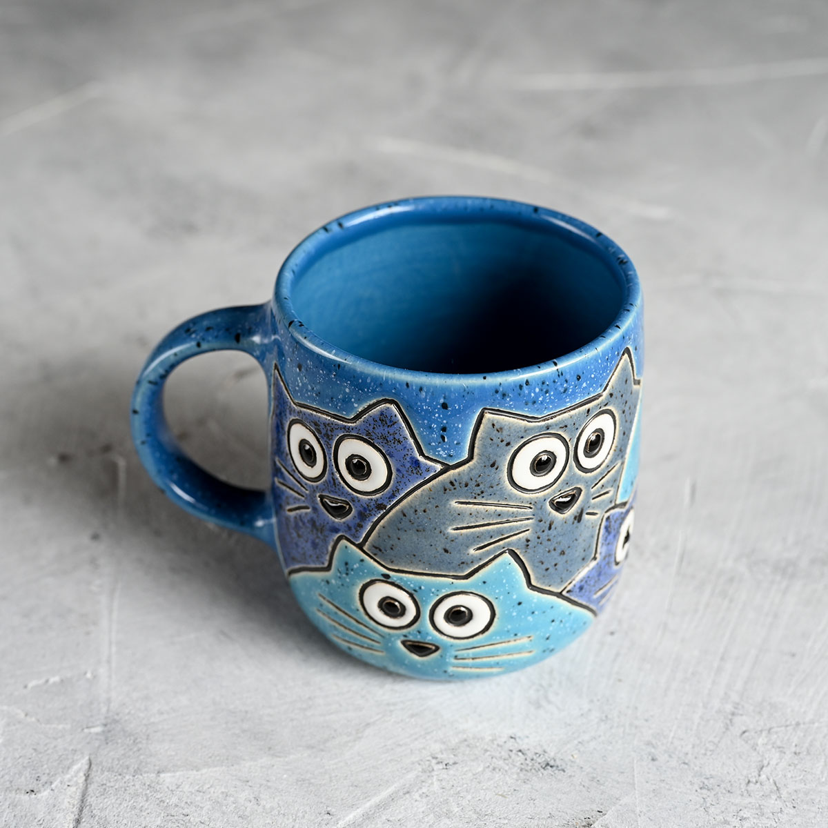 """картинка Кружка """"Котики"""" малая синяя 300 мл - DishWishes.Ru"""