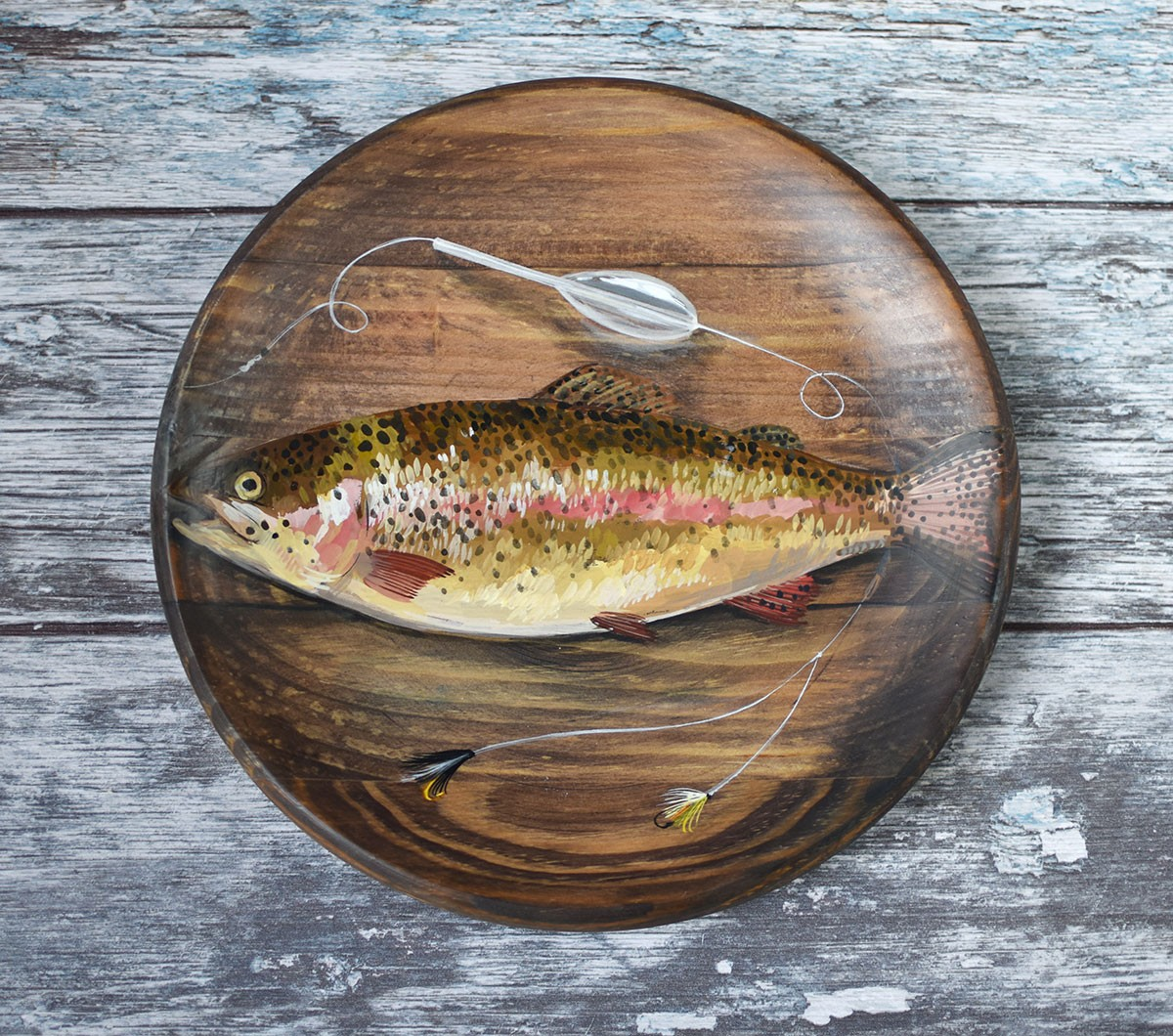 "картинка Деревянная тарелка ""Рыбалка"" - DishWishes.Ru"