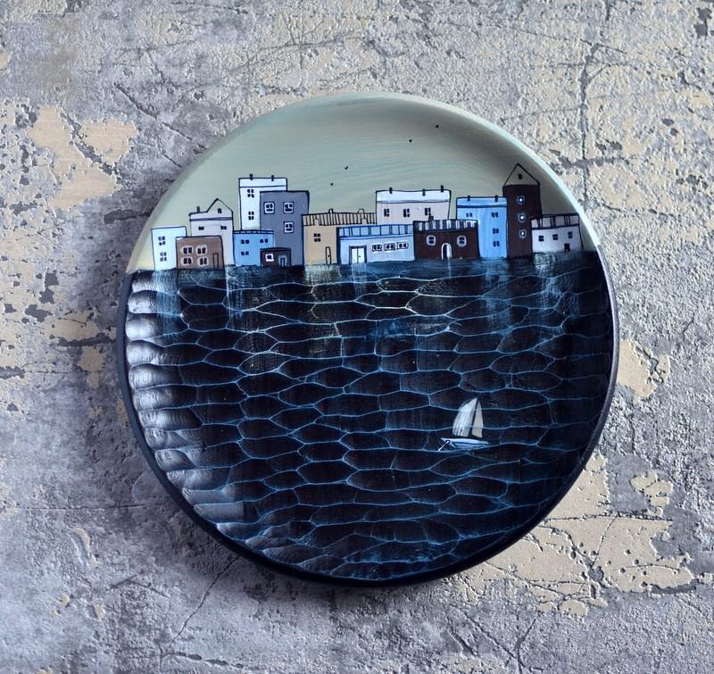 "картинка Деревянная тарелка ""Полдень"" - DishWishes.Ru"