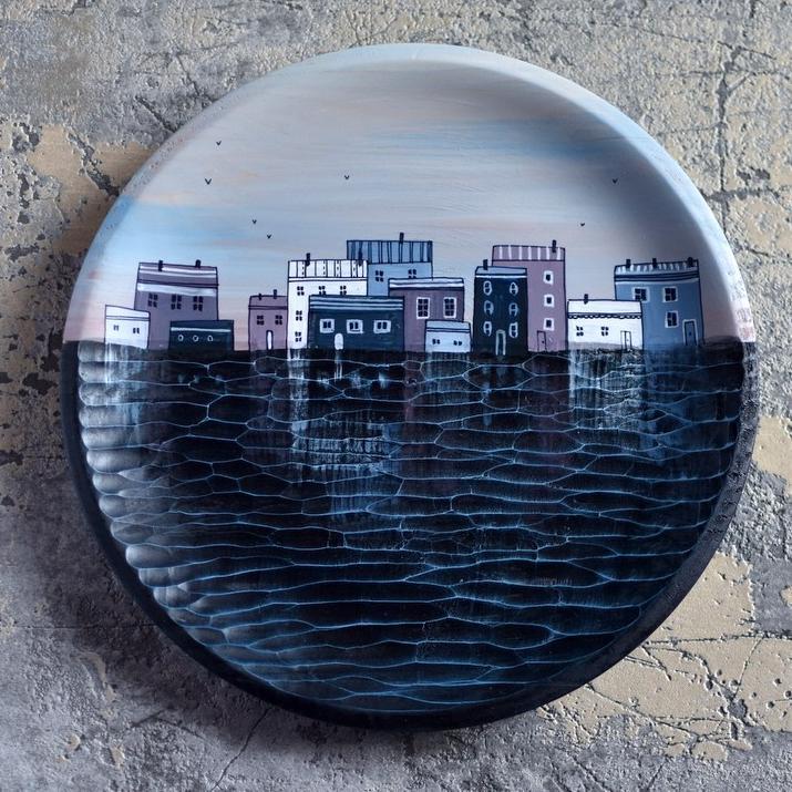 "картинка Деревянная тарелка ""Утро"" - DishWishes.Ru"
