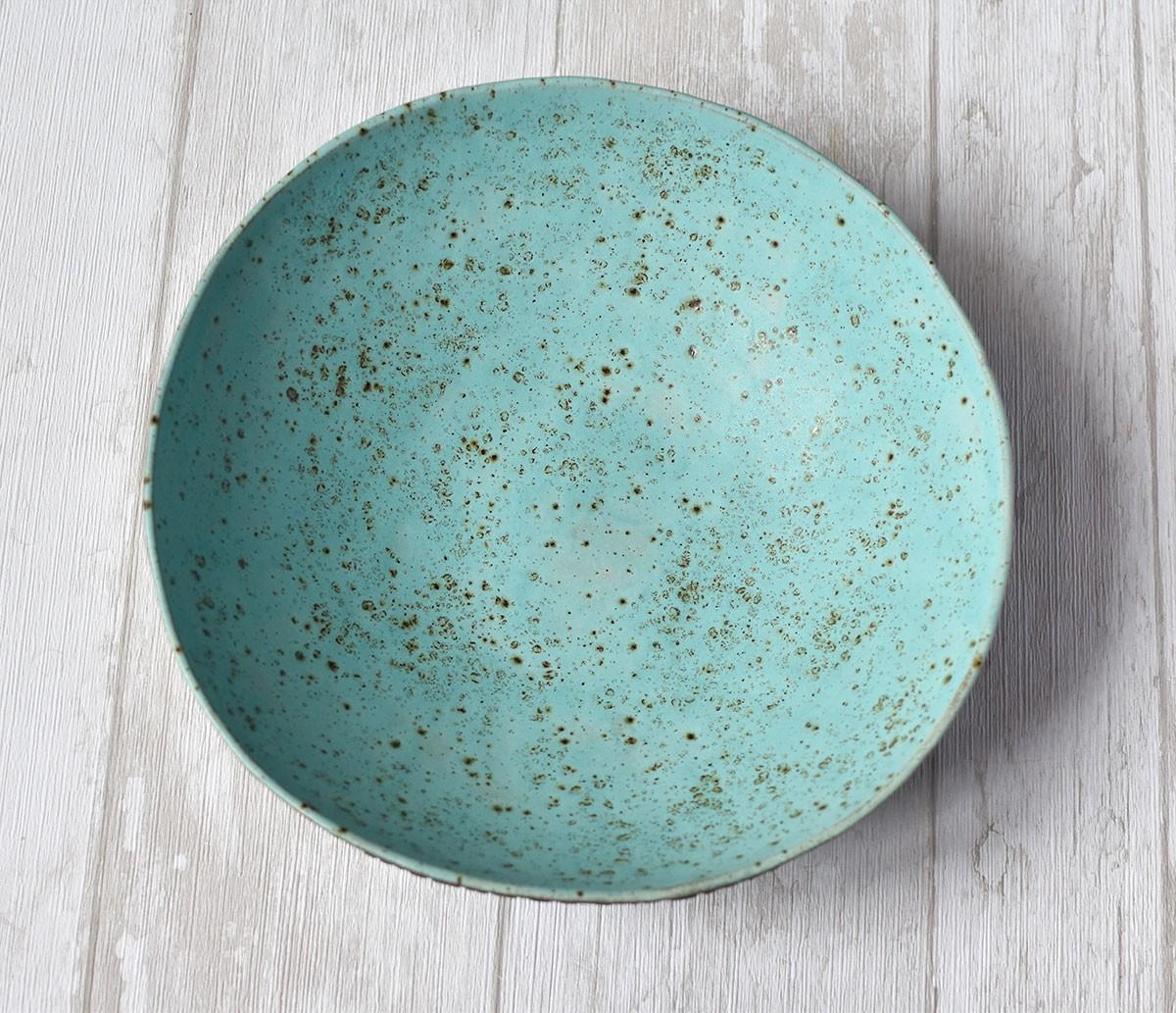 "картинка Керамический салатник ""Бирюзовый кружевной"" - DishWishes.Ru"