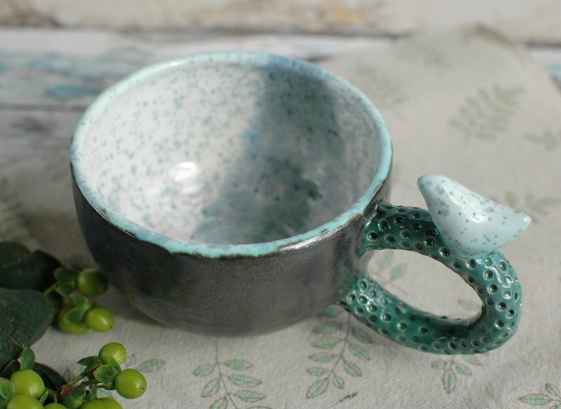 """картинка Чашка с птичкой """"Камни"""" - DishWishes.Ru"""