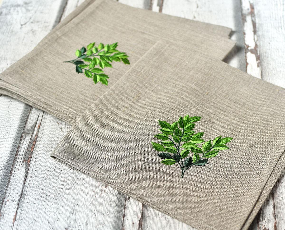 """картинка Льняная салфетка с вышивкой """"Зеленая ветвь"""" - DishWishes.Ru"""