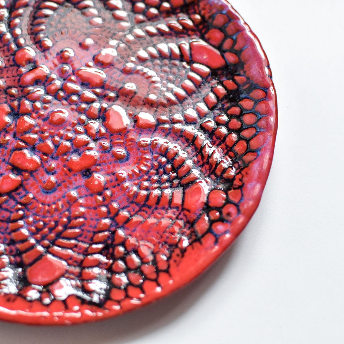 """картинка Кружевное блюдце ручной работы """"Огонь"""" 4 - DishWishes.Ru"""