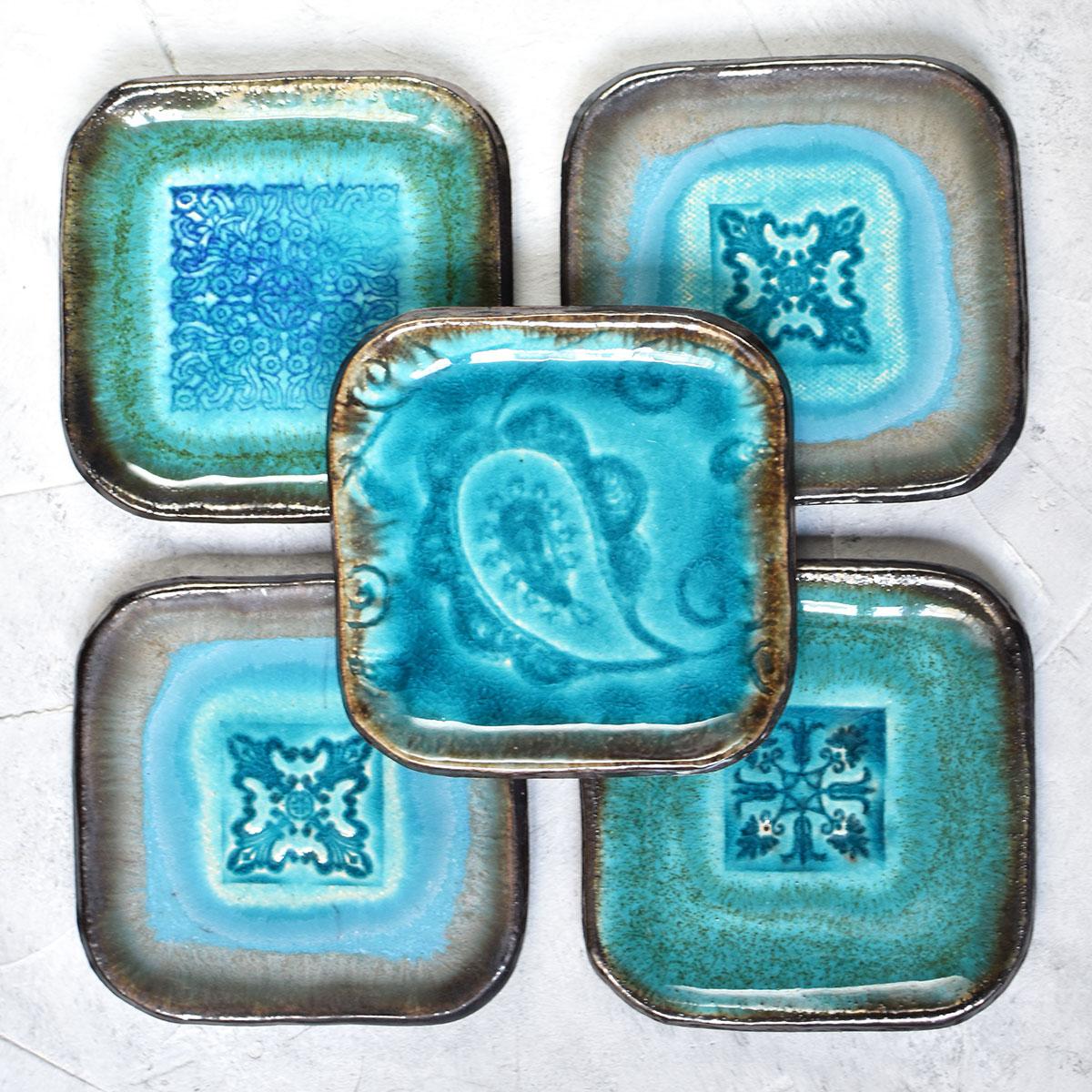 картинка Тарелка квадратная малая с рельефным узором - DishWishes.Ru
