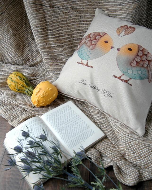 "картинка Чехол на подушку ""Птички"" - DishWishes.Ru"