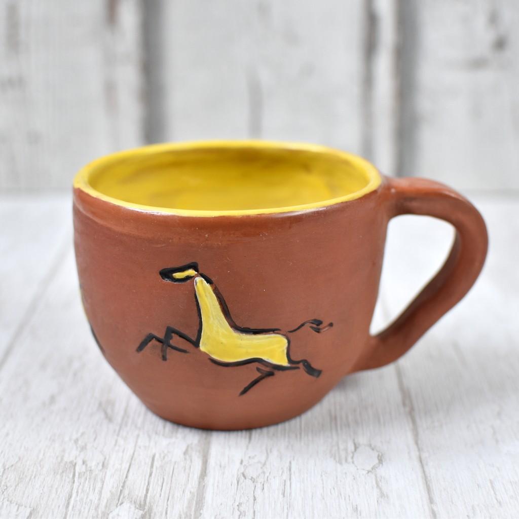 """картинка Вощеная чашка ручной работы """"Лошадка"""" - DishWishes.Ru"""