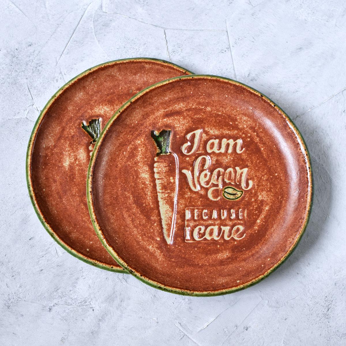 "картинка Керамическая тарелка ""Веган"" - DishWishes.Ru"