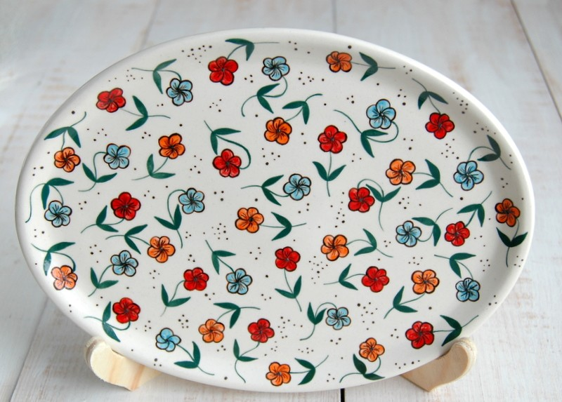 """картинка Тарелка овальная с росписью """"Цветочный луг"""" - DishWishes.Ru"""
