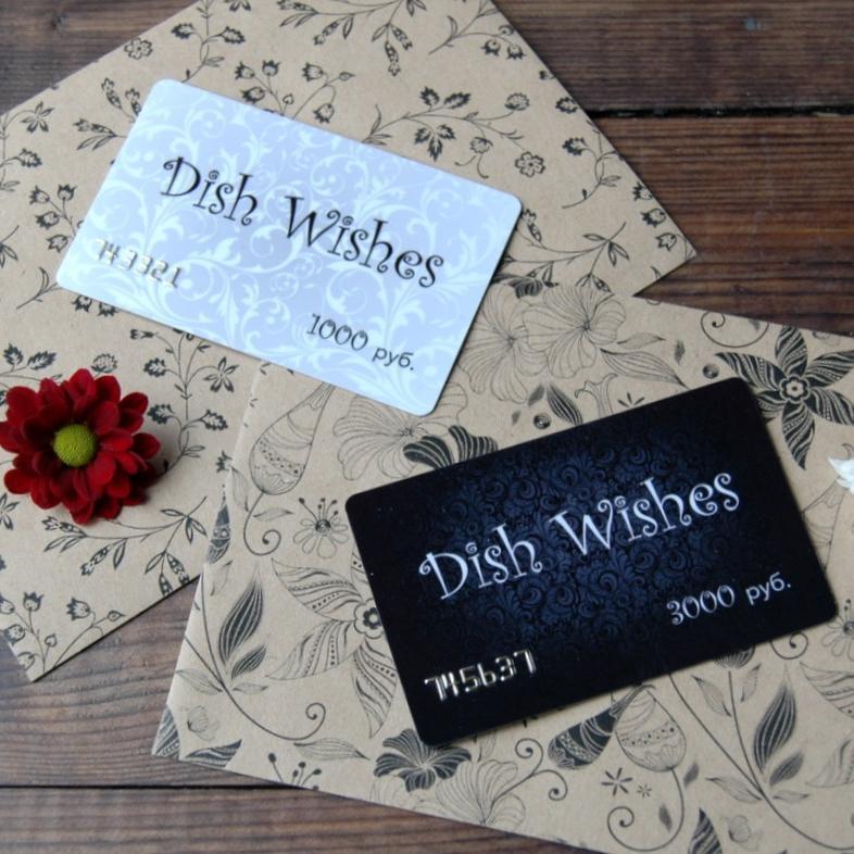 картинка Подарочный сертификат DishWishes 1000 руб. - DishWishes.Ru