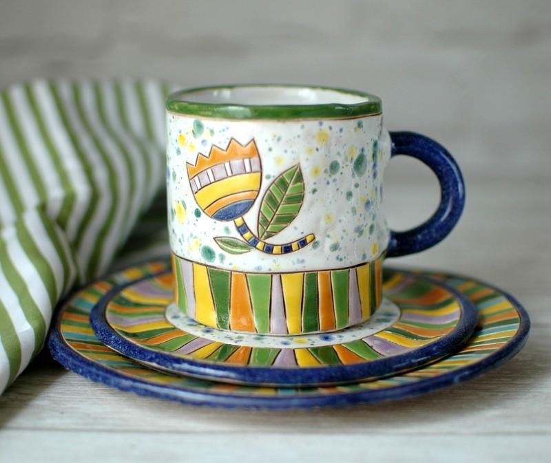 """картинка Чайная пара ручной работы """"Птицы в цветах"""" - DishWishes.Ru"""